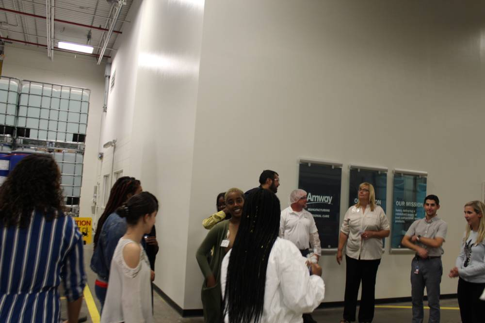Students touring Amway headquarters